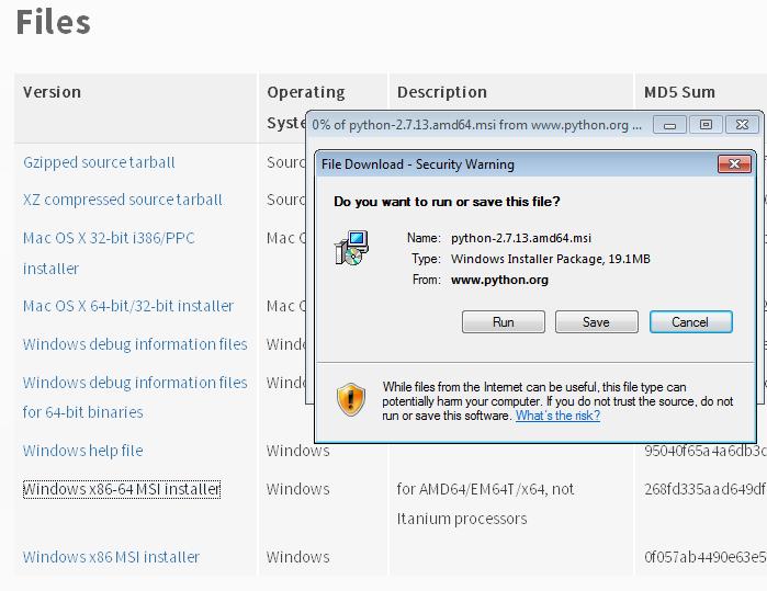 Run python installer.png